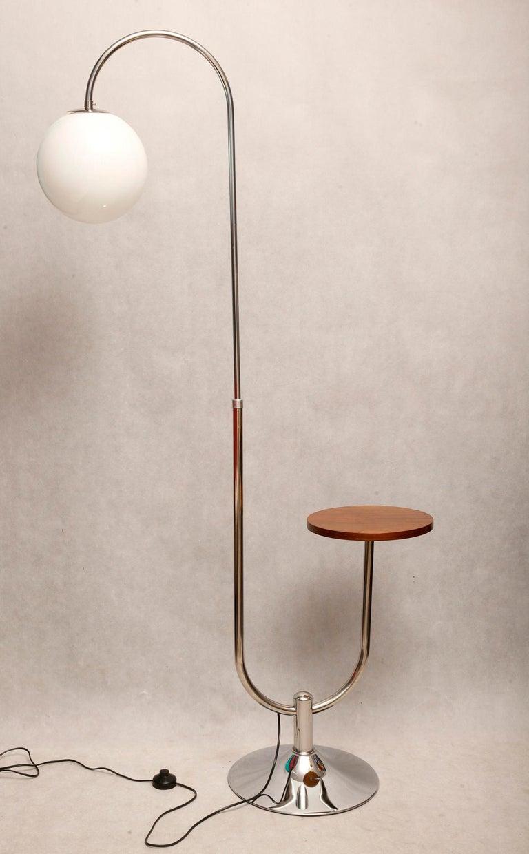 Nutwood Bauhaus Chromed Floor Lamp by Robert Slezak, 1930s For Sale