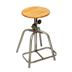 Industrial Steel Work Stool, Poland, 1970s