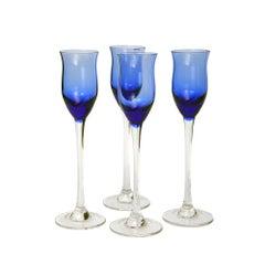 Four Cobalt Liqueur Glasses by Zbigniew Horbowy, Poland, 1970s
