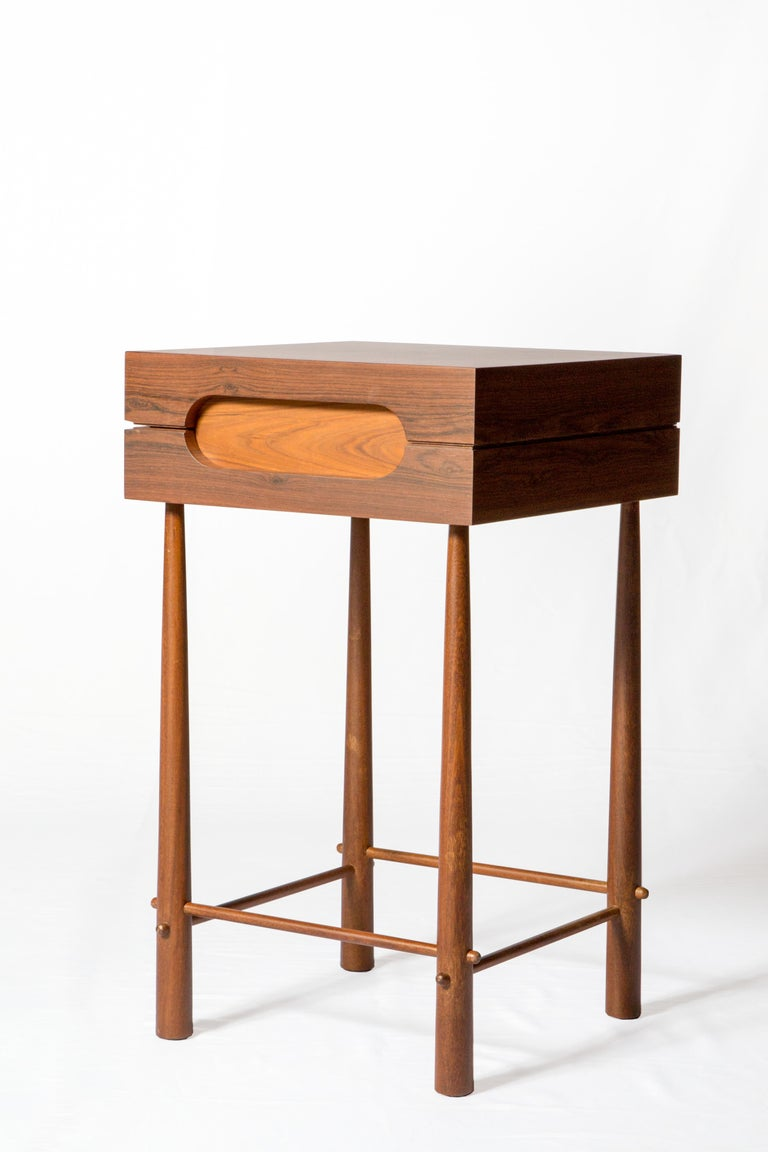 Small format high side table in Brazilian Ipê Wood and Louro Preto.