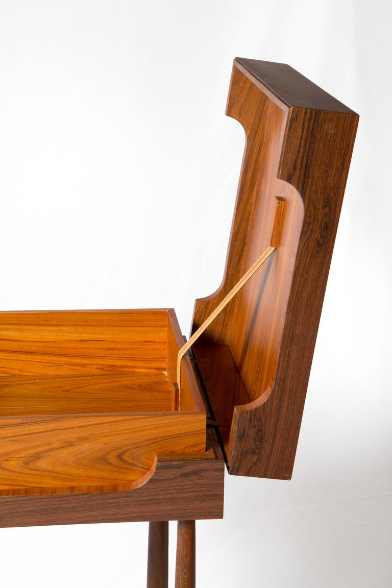 Contemporary Side Table, High Side Table in Brazilian Wood For Sale 3