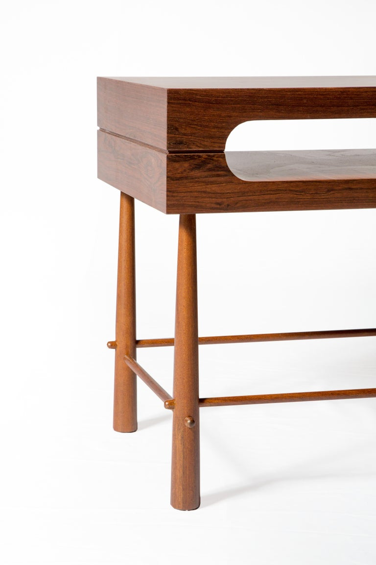 Hand-Carved Contemporary Side Table in Brazilian Wood For Sale