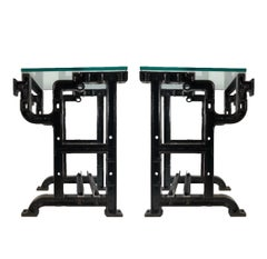 Pair of Industrial Reaching Arm Side Tables