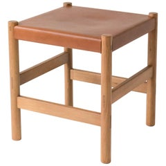 Juniper Stool by Sun at Six, Sienna Minimalist Stool in Wood and Leather