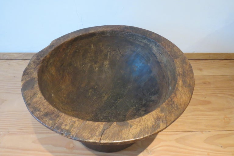 Large African Wooden Bowl  In Fair Condition For Sale In Stow on the Wold, GB