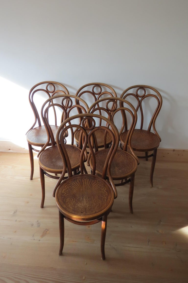 Set of 6 Jacob and Joseph Kohn, Austrian Dining chairs No 36 For Sale 1