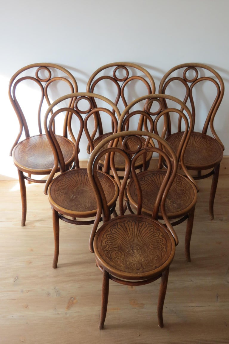 Set of 6 Jacob and Joseph Kohn, Austrian Dining chairs No 36 For Sale 2