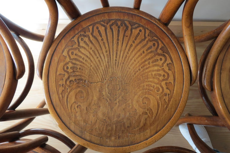 Set of 6 Jacob and Joseph Kohn, Austrian Dining chairs No 36 In Good Condition For Sale In Stow on the Wold, GB
