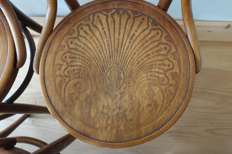 20th Century Set of 6 Jacob and Joseph Kohn, Austrian Dining chairs No 36 For Sale