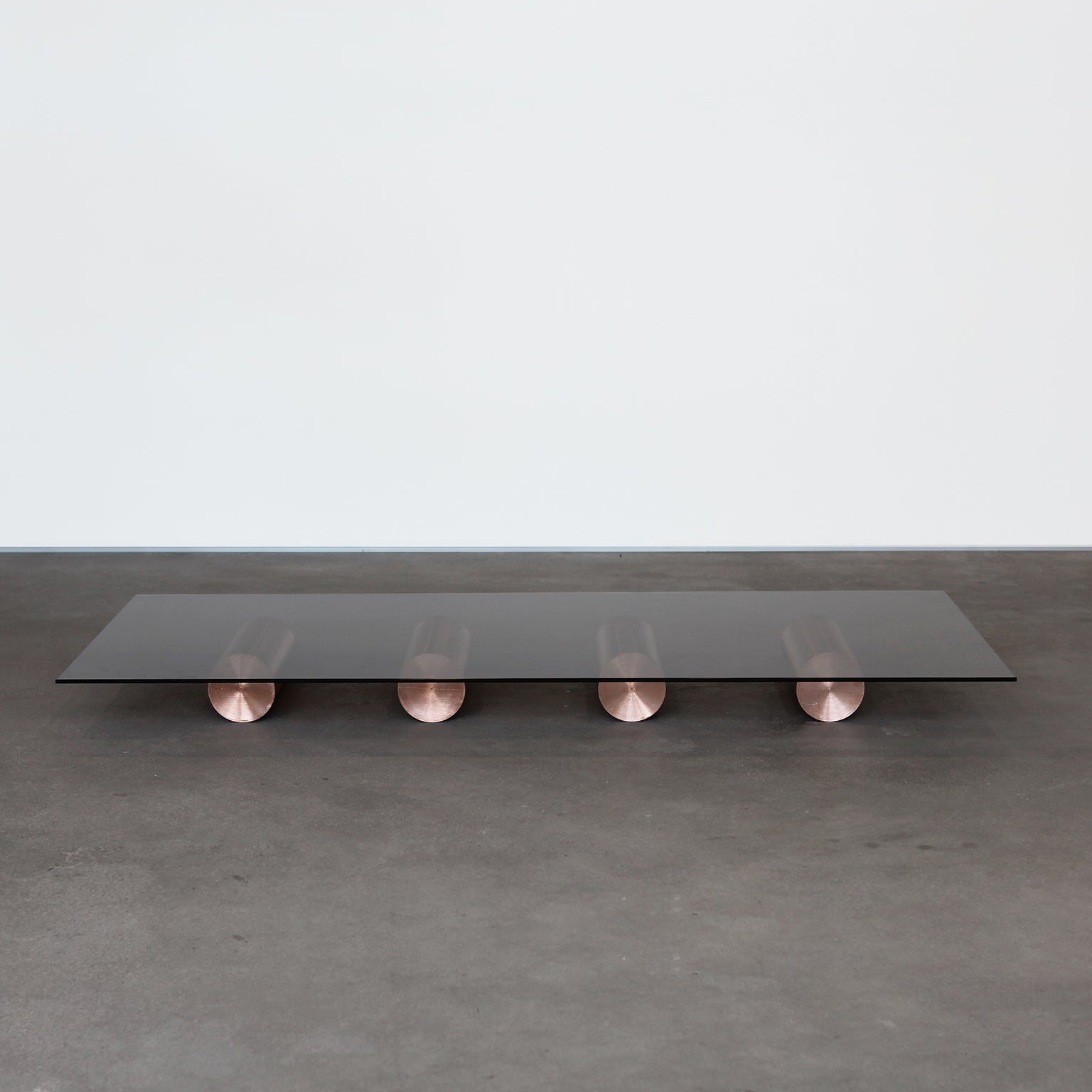 21St Century Minimalist Solid Copper And Glass, Low Coffee Table