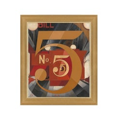 Figure 5 in Gold, after Art Deco Oil Painting by Charles Demuth