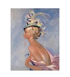 Chapeau à Plumes, after Impressionist Artist Jean-Gabriel Domergue