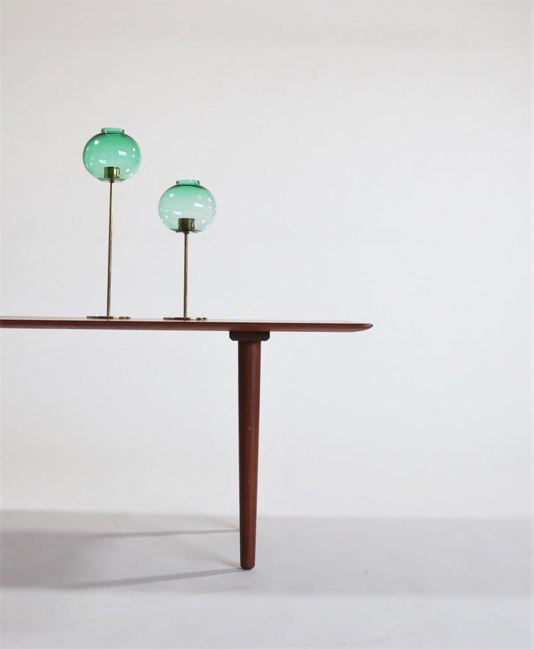 Hans Agne Jakobsson Scandinavian Modern Brass and Glass Candlesticks, 1960s For Sale 2