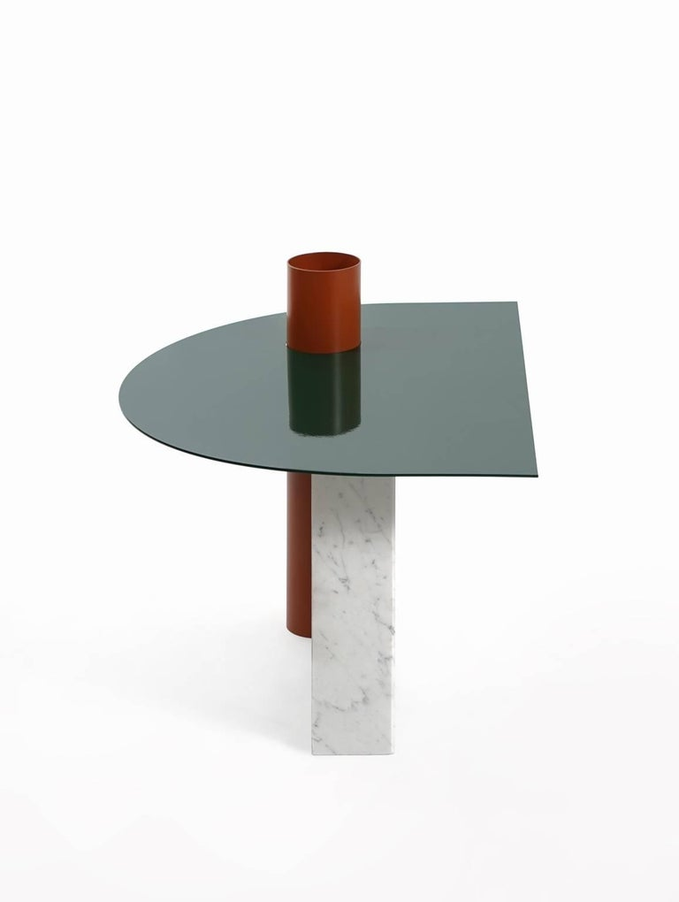 European Modern Coffee Table in Marble and Powder Coated Steel from