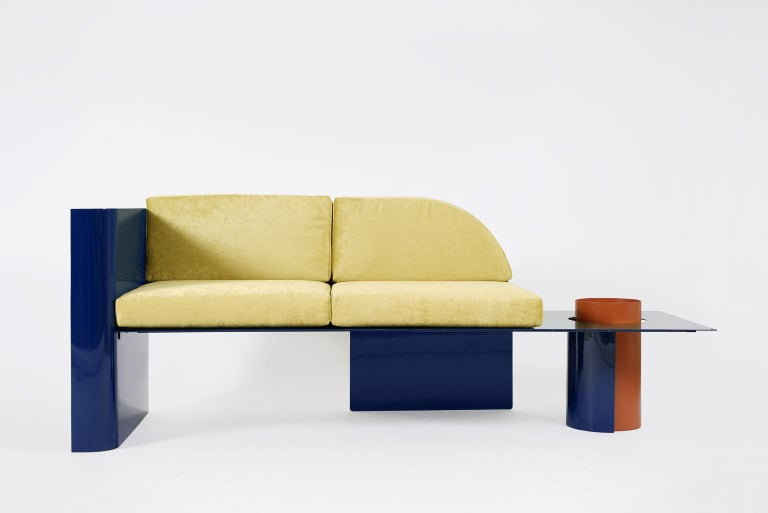 Blue Modern Sofa in Powder-Coated Steel with Planter Side Table In New Condition For Sale In Saint Petersburg, RU