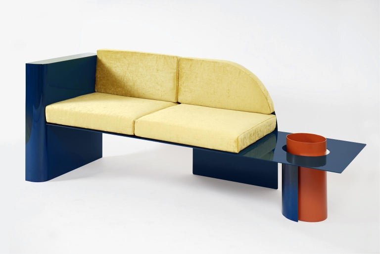 European  Blue Modern Sofa in Powder-Coated Steel with Planter Side Table For Sale