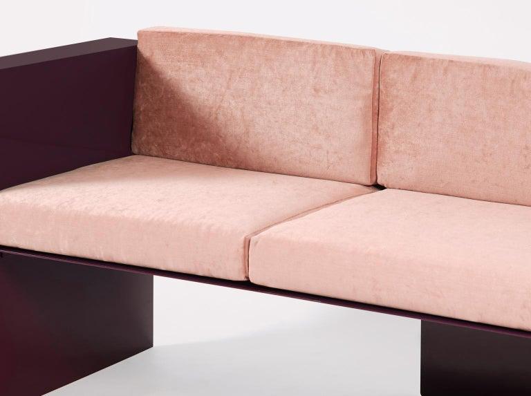 Velvet Burgundy Modern Sofa in Powder-Coated Steel with Planter Side Table For Sale