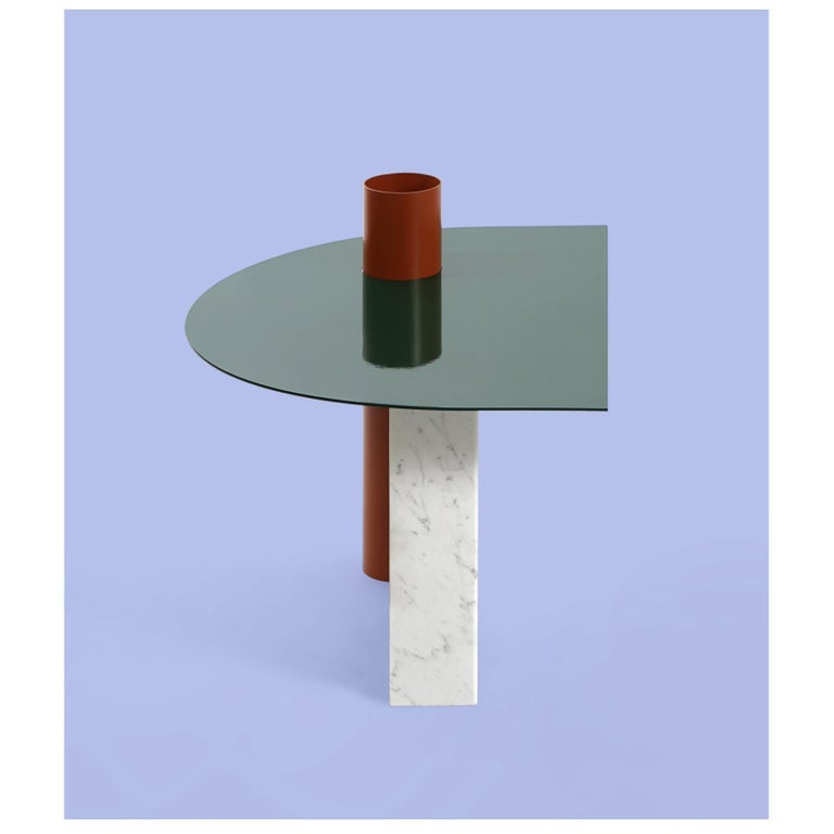 Modern Coffee Table in Marble and Powder Coated Steel from