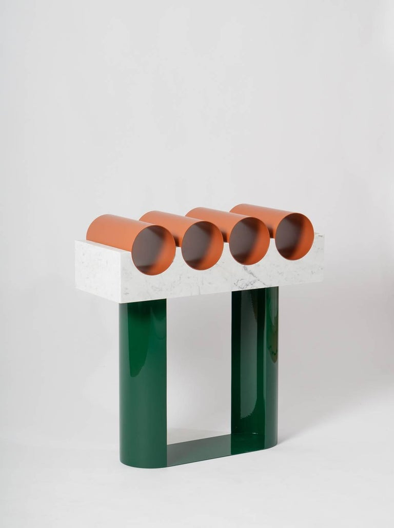 Modern Commode in Marble and Powder Coated Steel from