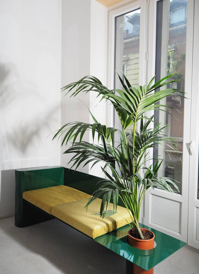 Contemporary Modern Sofa in Powder-Coated Steel with Planter Side Table