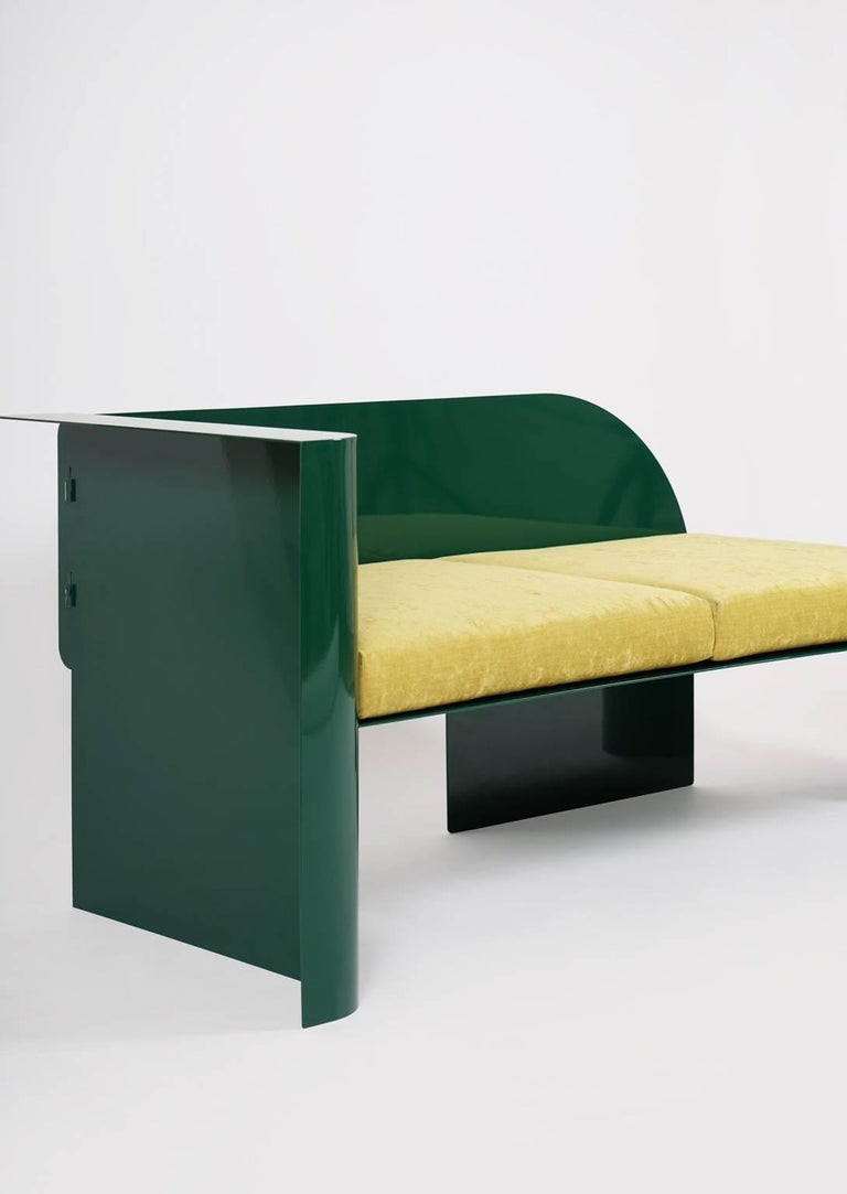 Modern Sofa in Powder-Coated Steel with Planter Side Table