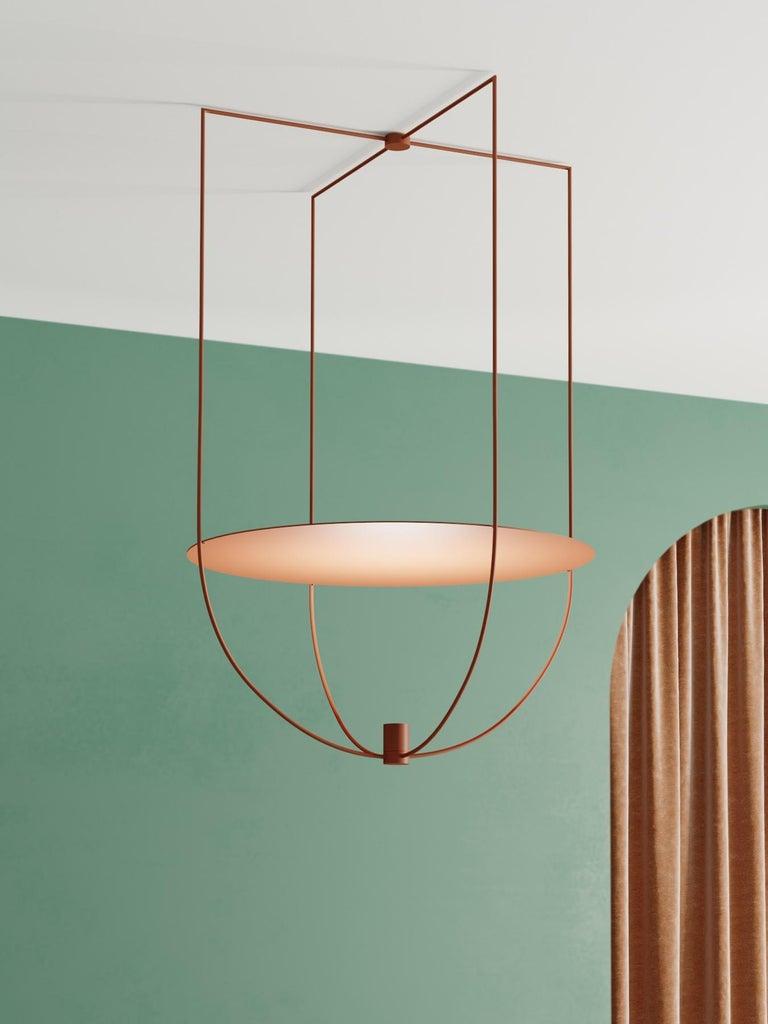 European Thin, Metal-Framed Pendant Lamp from