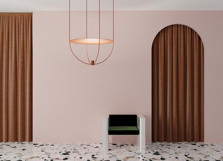 Modern Thin, Metal-Framed Pendant Lamp from