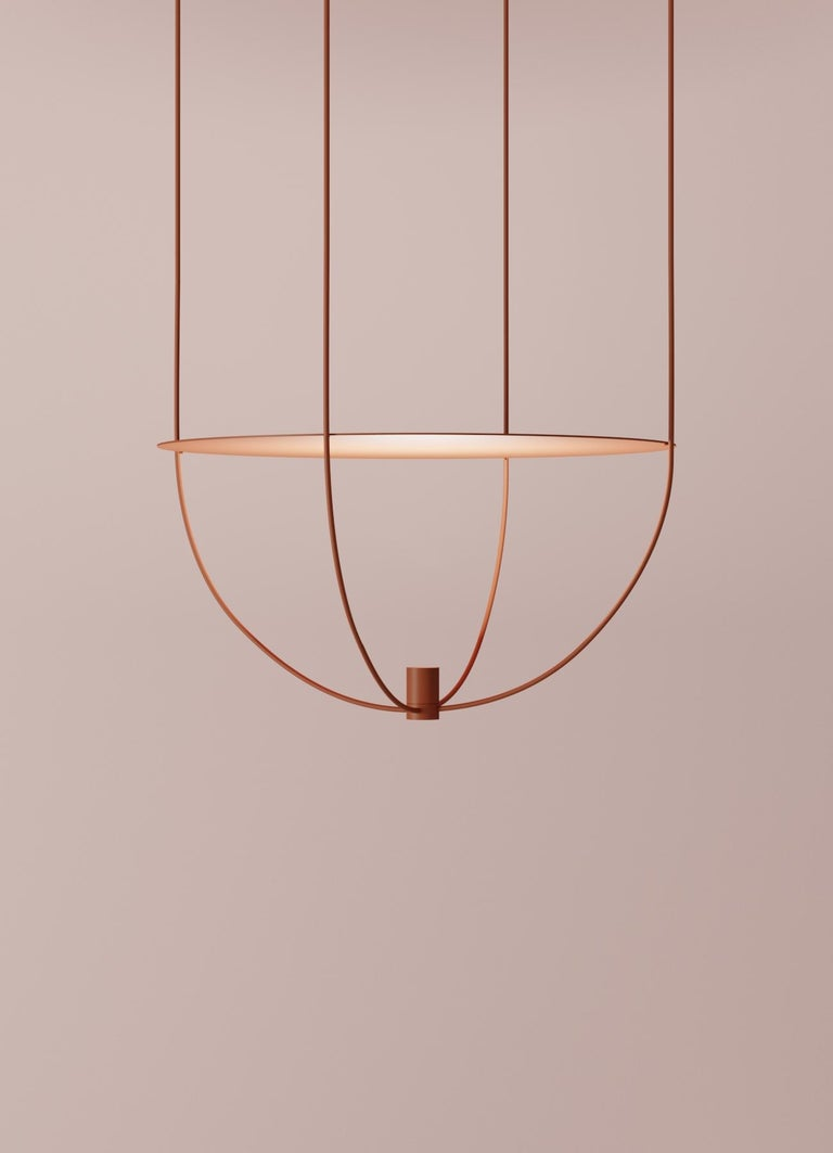 Powder-Coated Thin, Metal-Framed Pendant Lamp from
