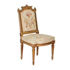 19th Century Aubusson Tapestry French Chairs with Giltwood, Pair