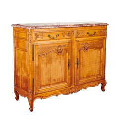 Louis XV French Cherrywood Ochre Marble Top Commode, circa 1930