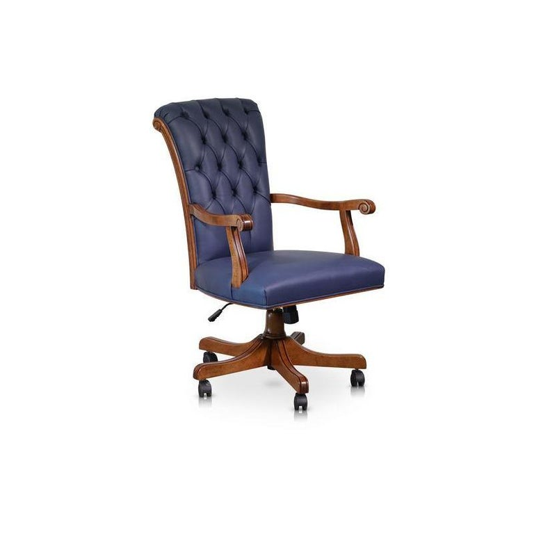 This Spectacular Italian Designer Office Chair Has Been Handcrafted Using Calf Leather Upholstery Framed By