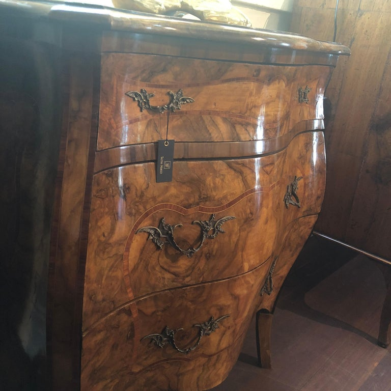 Inlay 19th Century, Louis XV French Burl Walnut Bombe Commode For Sale