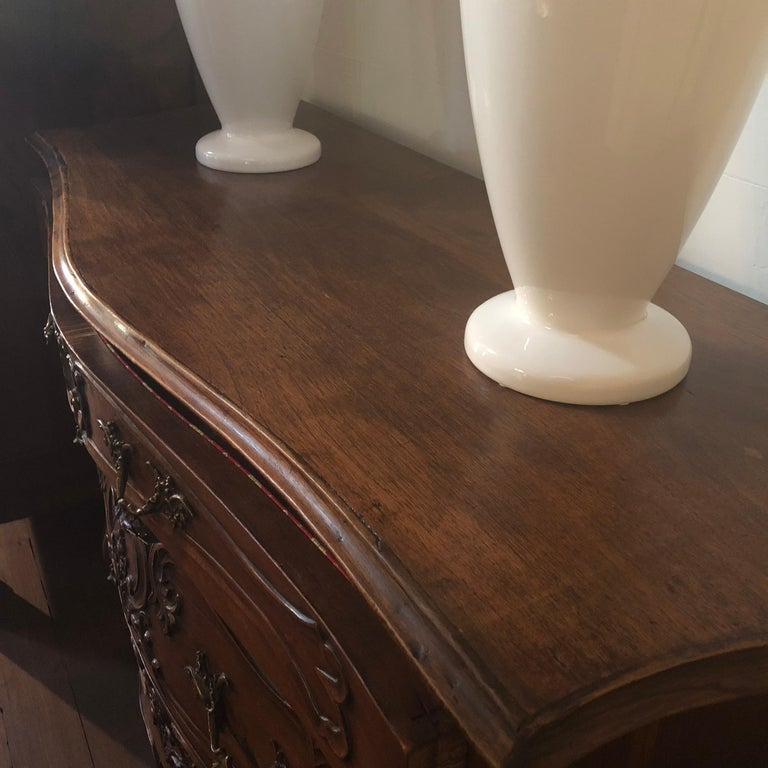 Louis XV French Carved Walnut Bombe Commode, circa 1950 For Sale 2