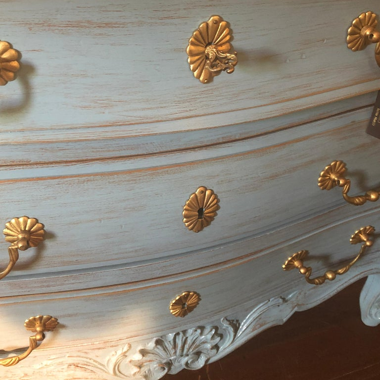 Modern Louis XV, Paris Blue Bombe Oak Commode In New Condition For Sale In Perth , AU