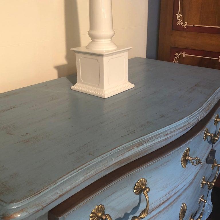 Contemporary Modern Louis XV, Paris Blue Bombe Oak Commode For Sale