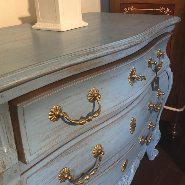 Modern Louis XV, Paris Blue Bombe Oak Commode For Sale 1