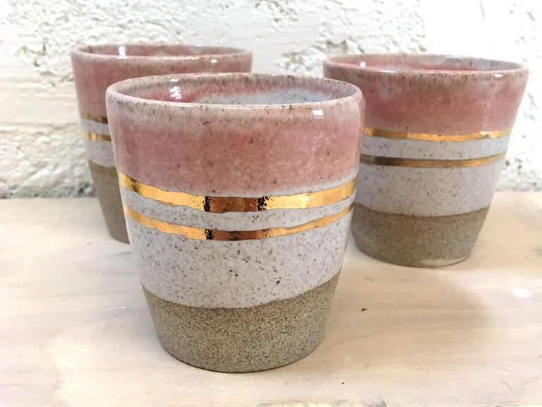 Modern Rose Gold Ceramic Cortado Cups with 22-Karat Gold Luster by Kim Brown For Sale
