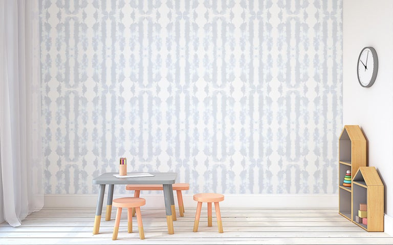 Waterstripe Wallpaper in Indigo by Gray Flores Design x Greenpoint Hill In Excellent Condition For Sale In Brooklyn, NY