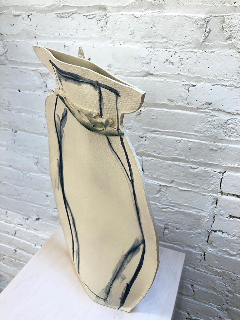 Hand-Crafted Tall Painted Porcelain Flat Vase with Blue and Black Vines by Alison Owen For Sale