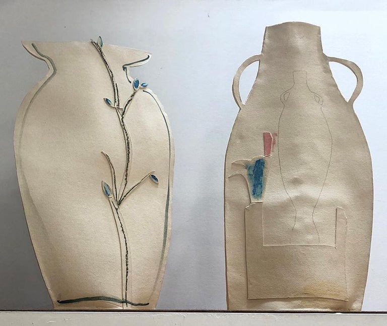 Tall Painted Porcelain Flat Vase with Blue and Black Vines by Alison Owen In New Condition For Sale In Brooklyn, NY