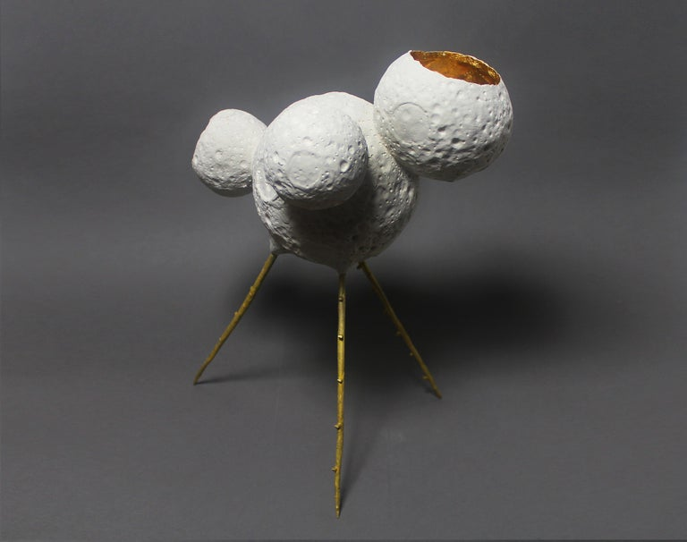 Modern MM0005 Sculpture by Mikel Durlam and Monty J, Ceramic, Gold Leaf and Brass For Sale