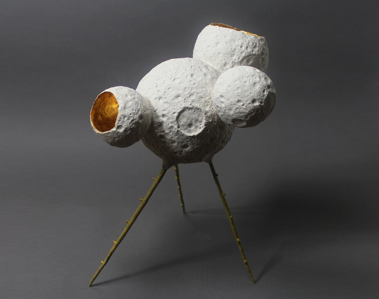 American MM0005 Sculpture by Mikel Durlam and Monty J, Ceramic, Gold Leaf and Brass For Sale