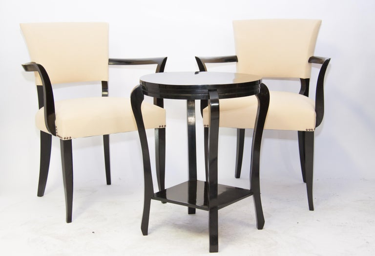 French Art Deco Bridge Armchairs and Table 1930' For Sale 1