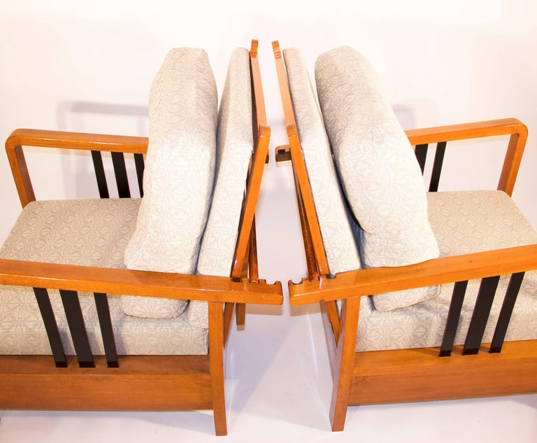 Attributed to Hungarian designer Lajos Kozma Adjustable backrest. With blind upholstery, top covers are to change to suit your interior. Good, vintage condition. (This item is not damaged, but there are minor abrasions and scratches on it.) Lajos