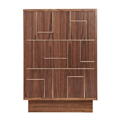"Contemporary Handcrafted Cabinet ""Egeria"" in Wood with Brass Linear Pattern"