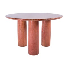 "Italian Red Travertine Dining Table ""Il Colonnato"" by Mario Bellini for Cassina"