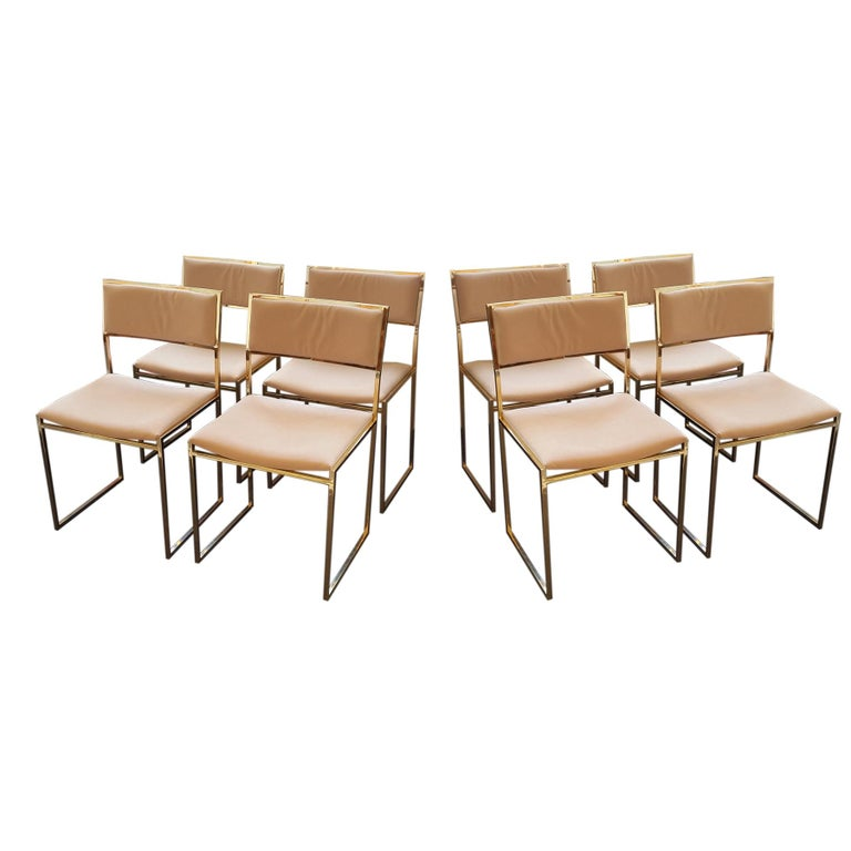 1970 Set of Eight Willy Rizzo Signed Dining Chairs