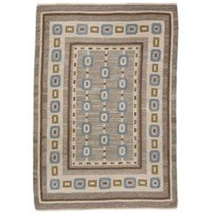 Handwoven Swedish Wool rug in Flat-Weave signed V.J.