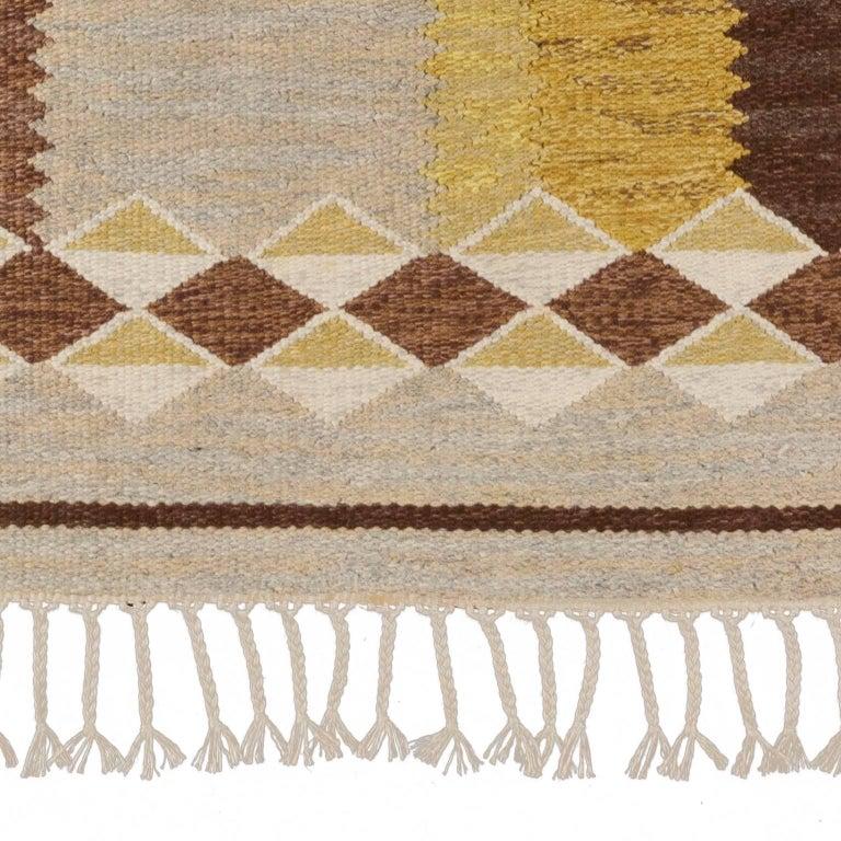 Hand-Woven Mid-20th Century Scandinavian Rug Signed by Anna Greta Sjoqvist 'Sjökvist' For Sale