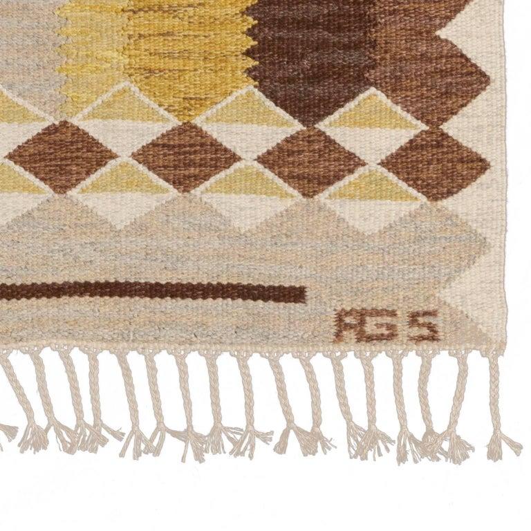 Mid-20th Century Scandinavian Rug Signed by Anna Greta Sjoqvist 'Sjökvist' In Excellent Condition For Sale In Stockholm, SE